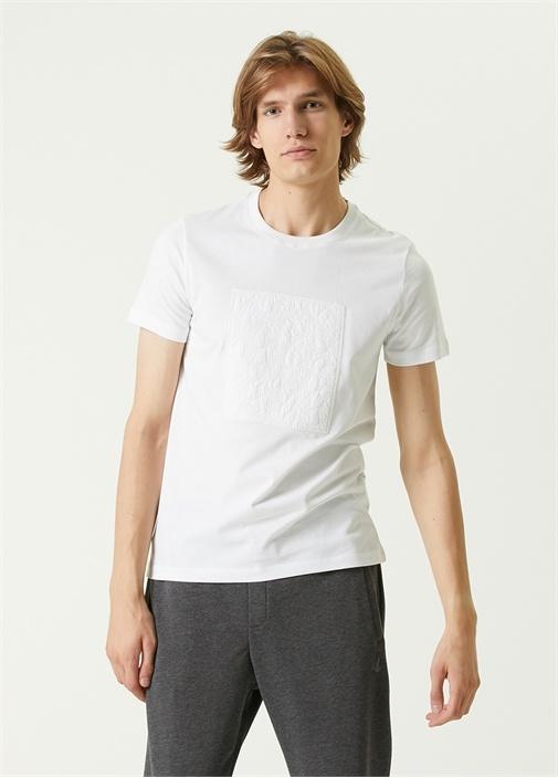 Beyaz Monogram Logo Detaylı T-shirt