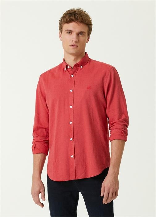 Comfort Fit Kırmızı Oxford Gömlek