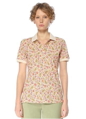 Etro Kadın Beyaz Polo Yaka Etnik Desenli T-shirt 42 IT