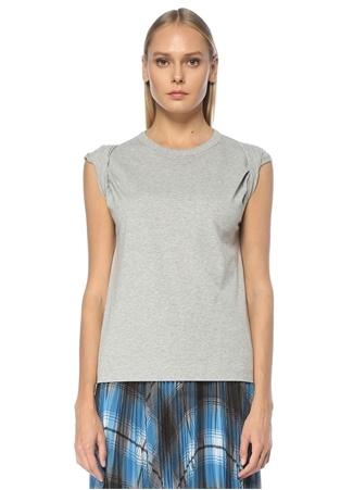 Dries Van Noten Kadın Gri Kol Detaylı T-shirt S EU