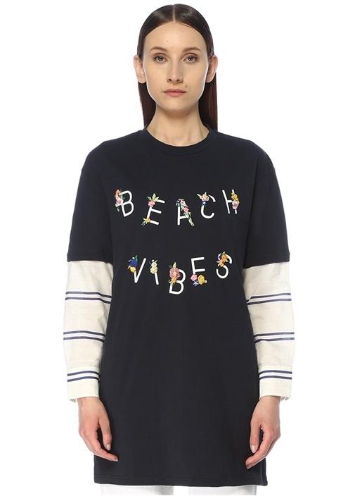 Beach Vibes Lacivert Gömlek Garnili T-shirt