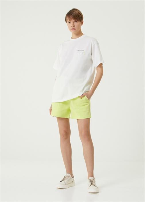 Neon Sarı Beli Kordonlu Mini Jersey Şort