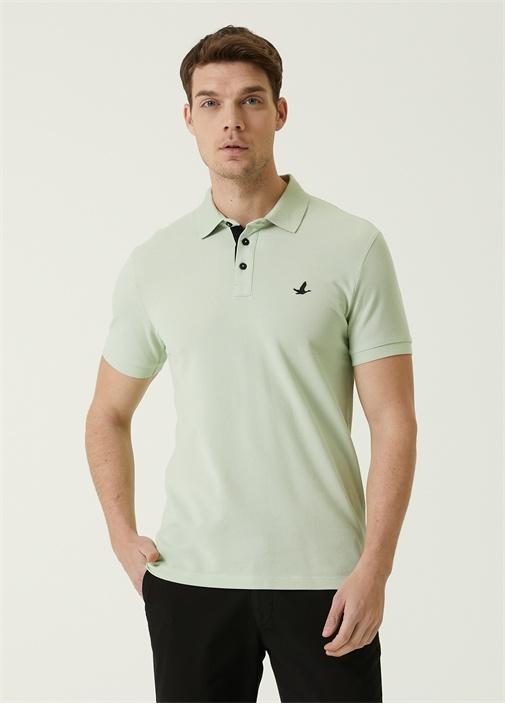 Slim Fit Mint Polo Yaka Dokulu T-shirt
