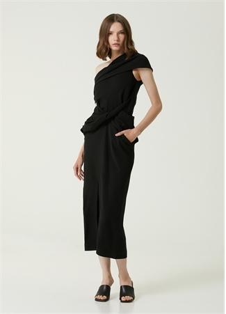 Ambush Kadın Siyah Asimetrik Drapeli Midi Elbise 38 IT