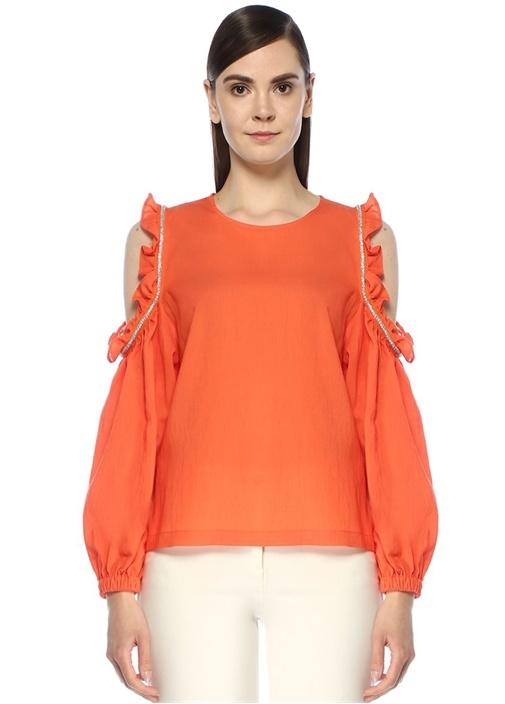 Mercan Omzu Açık Taş Şeritli Bluz