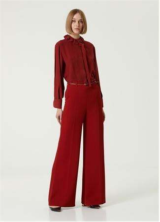 Chloe Kadın Kırmızı Kemerli Bol Paça Krep Pantolon 34 FR