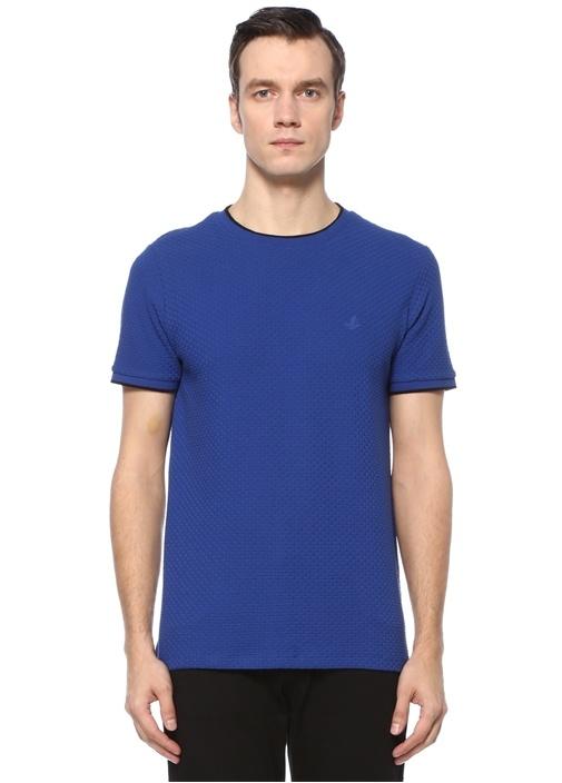 Lacivert Petek Dokulu Bisiklet Yaka T-shirt