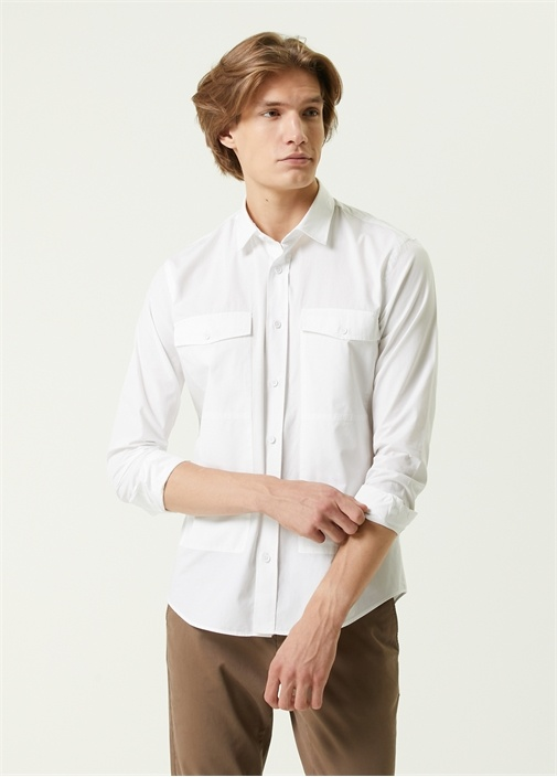 Slim Fit Beyaz Logo Detaylı Gömlek