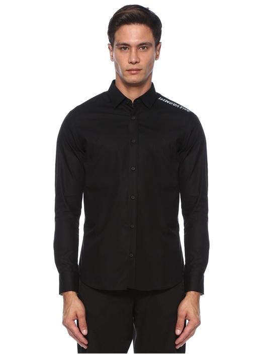Slim Fit Siyah Slogan Baskılı Gömlek