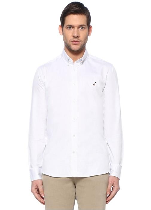 Slim Fit Beyaz Düğmeli Yaka Nokta Desenli Gömlek