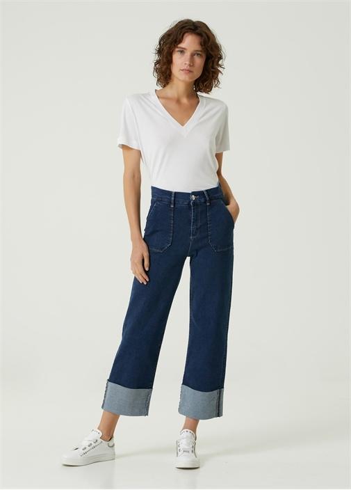Koyu Mavi Wide Leg Jean Pantolon
