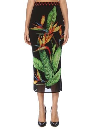 Dolce&Gabbana Kadın Siyah Tropikal Desenli Midi İpek Tüp Etek 42 IT