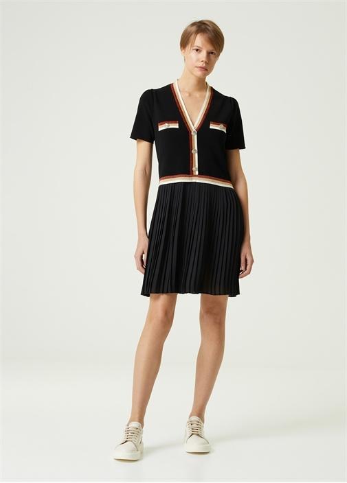 Siyah V Yaka Şifon Etekli Mini Triko Elbise