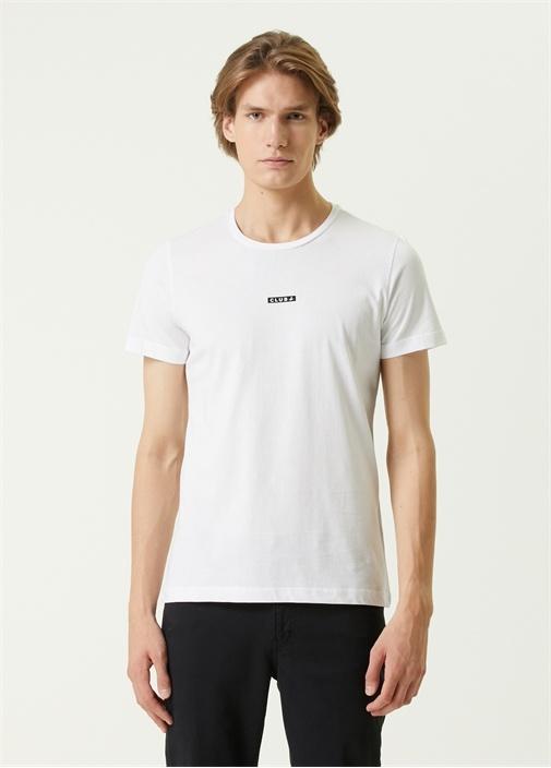 Beyaz Logo Detaylı Basic T-shirt