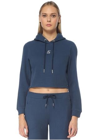 Bassigue Kadın Veil Kapüşonlu Dokulu Logolu Cropped Sweatshirt Lacivert S EU