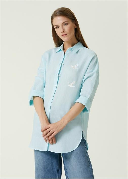 Mint Kuş Nakışlı Keten Gömlek
