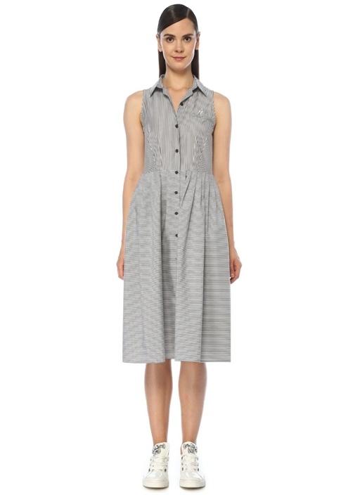 Siyah Beyaz Çizgili Midi Elbise