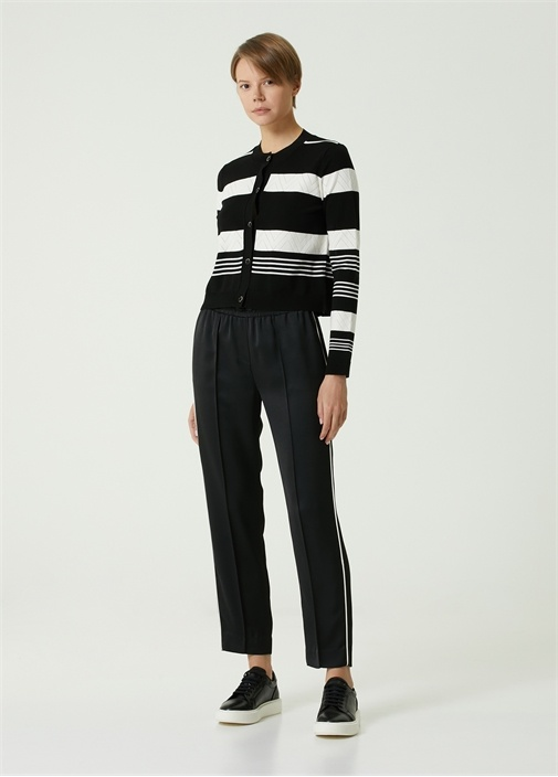 Siyah Beli Kordonlu Şerit Biyeli Cropped Pantolon