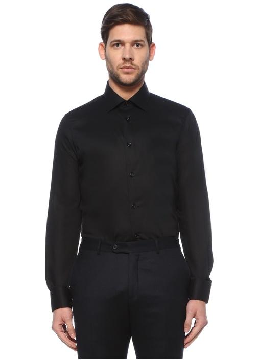 Slim Fit Siyah Armürlü Non-Iron Gömlek