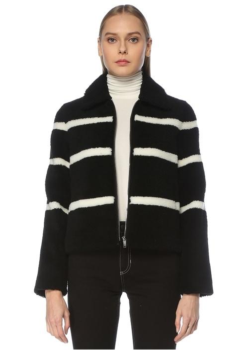 Siyah Beyaz Şeritli Shearling Mont