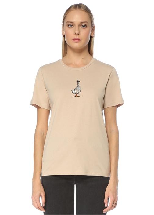 Bej Ördek Nakışlı Basic T-shirt