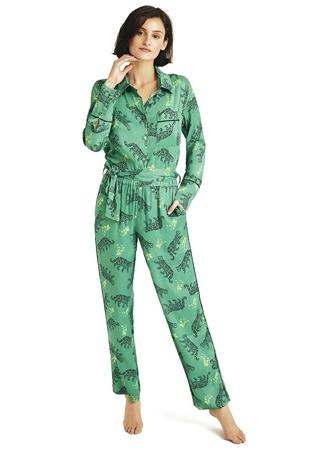 House of Silk Kadın Yeşil Leopar Desenli Pijama Takımı EU female