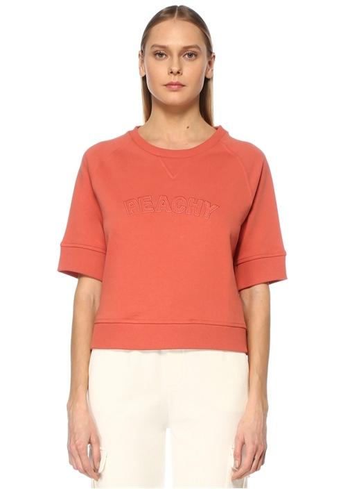 Somon Slogan Nakışlı Cropped Sweatshirt