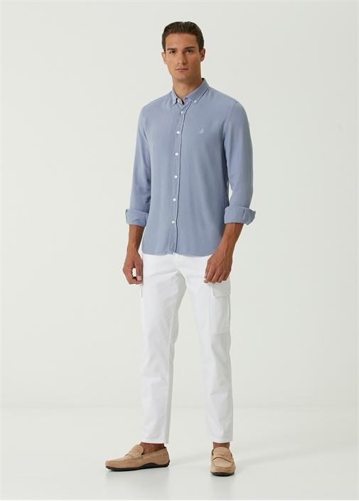 Slim Fit Mavi Polo Yaka Gömlek