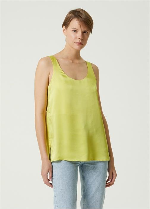 Yeşil U Yaka Saten Bluz