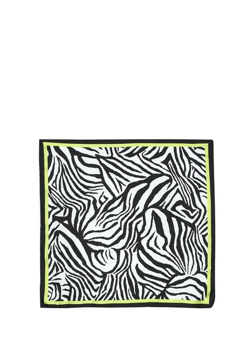 Siyah Beyaz Zebra Desenli 50x50 cm İpek Eşarp