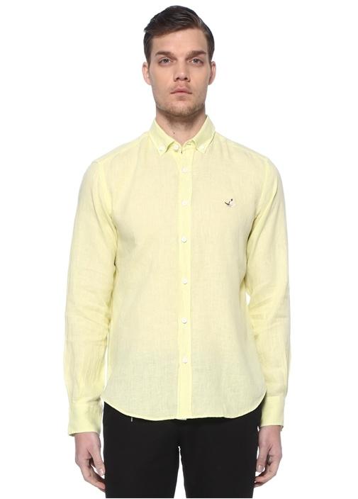 Comfort Fit Sarı Polo Yaka Keten Gömlek