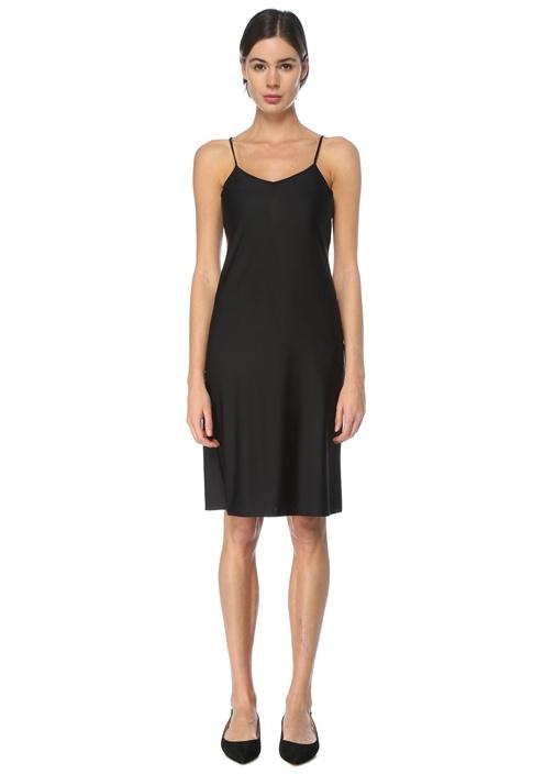 Siyah V Yaka Midi İç Elbise