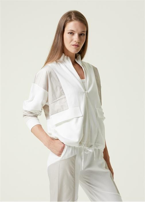 Beyaz Dik Yaka Garnili Sweatshirt