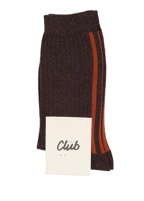 Kahverengi Sim Dokulu Kadın Çorap