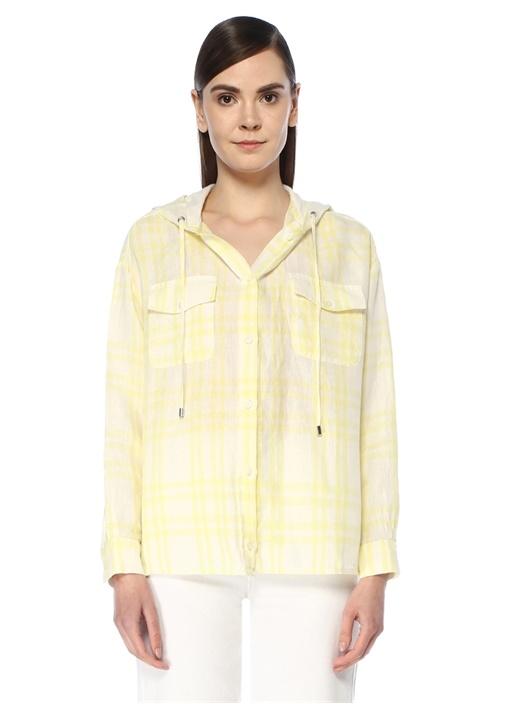 Sarı Kapüşonlu Ekose Desenli Keten Gömlek