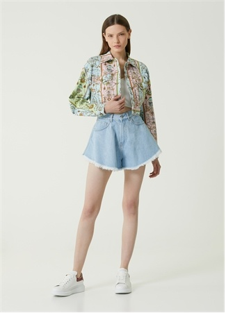 Versace Jeans Couture Kadın Pembe Desenli Crop Jean Ceket 42 IT