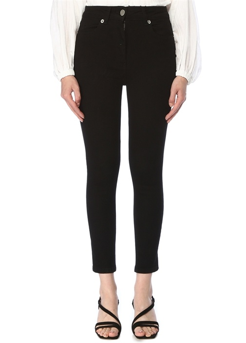 Siyah Normal Bel Crop Skinny Jean Pantolon