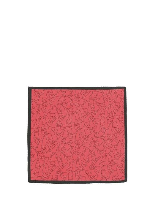 Kırmızı Monogram Desenli 50x50 cm İpek Eşarp