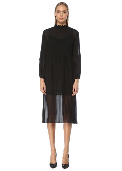 Siyah Dik Yaka Pilili Midi Şifon Elbise