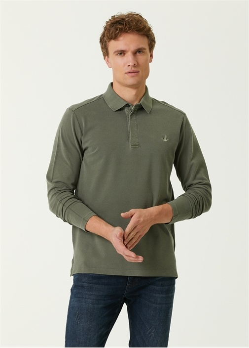 Comfort Fit Haki Polo Yaka Uzun Kol T-shirt