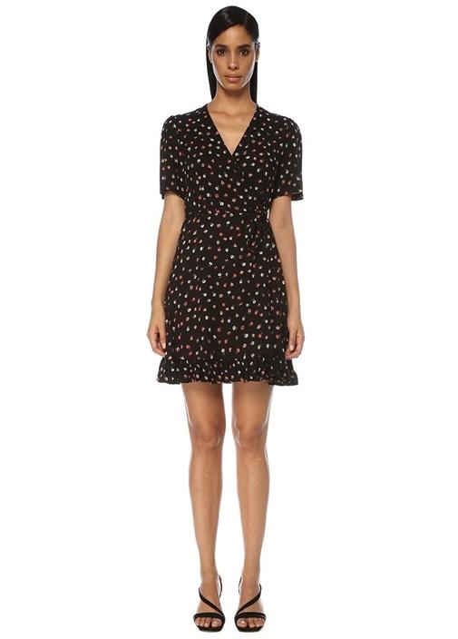 Siyah V Yaka Çiçekli Mini Anvelop Elbise