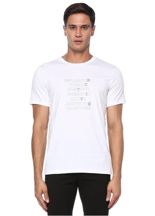 Beyaz Slogan Baskılı Basic T-shirt