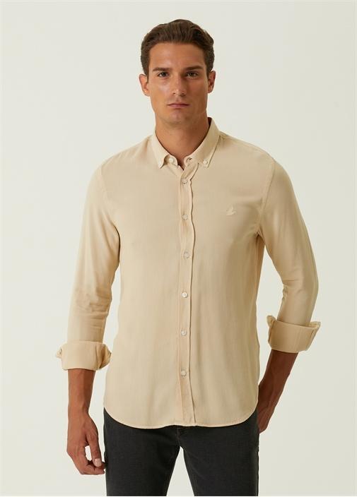 Slim Fit Bej Oxford Gömlek