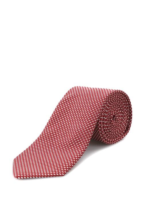 Kırmızı Beyaz Jakarlı İpek Kravat