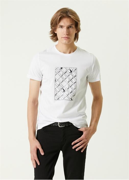 Beyaz Panel Logo Baskılı T-shirt
