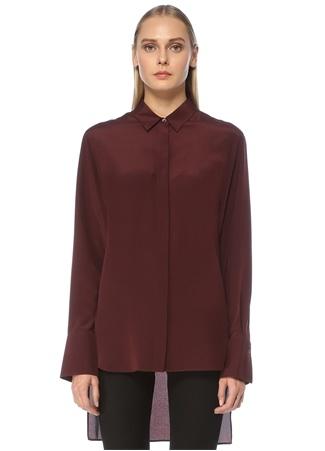 Joseph Kadın Chine Bordo Polo Yaka İpek Gömlek 38 FR