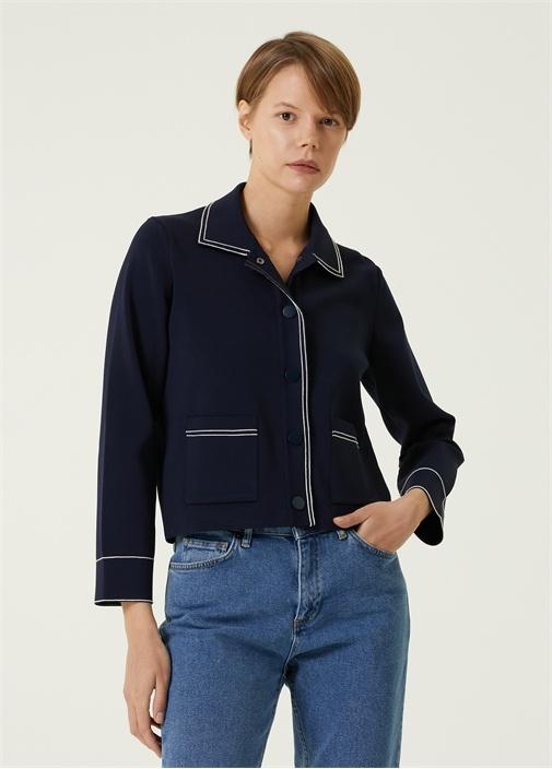 Lacivert Kontrast Dikişli Triko Ceket
