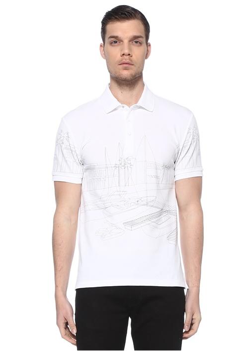 Slim Fit Beyaz Polo Yaka Marina Baskılı T-shirt