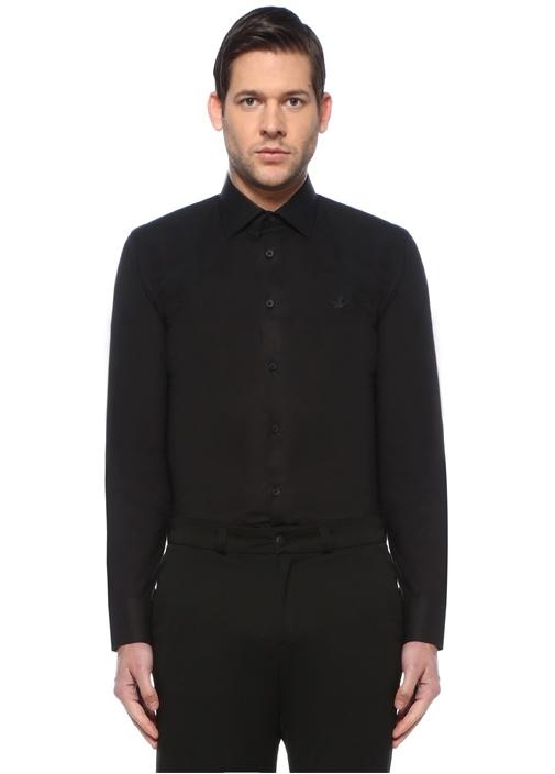 Slim Fit Siyah Modern Yaka Gömlek