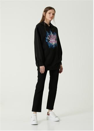 Versace Jeans Couture Kadın Siyah Kapüşonlu Baskılı Sweatshirt 42 IT